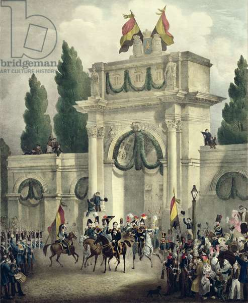 Entry of Prince Leopold of Saxe-Cobourg-Gotha (1790-1865) into Brussels, 21st July 1831 (colour litho)