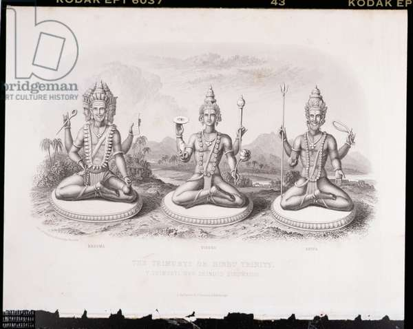 The Trimurti or Hindu Trinity, engraved by A. Thorn, from 'World Religion', published by A. Fullarton & Co. (engraving)