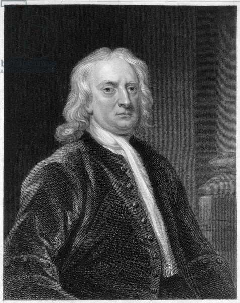 Portrait of Sir Isaac Newton (1642-1727), engraved by Edward Scriven (1775-1841) (engraving)