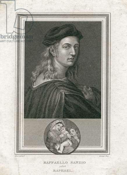 Raffaello Sanzio, called Raphael, engraved by Corner (engraving)