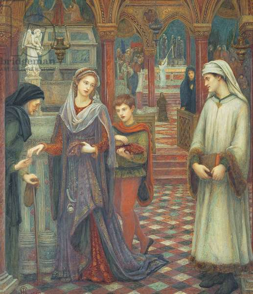 The First meeting of Petrarch and Laura, 1889 (w/c & bodycolour on paper)