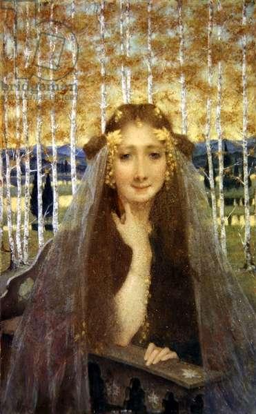 The Autumn Bride, c.1896 (oil & gold paint on mahogany panel)