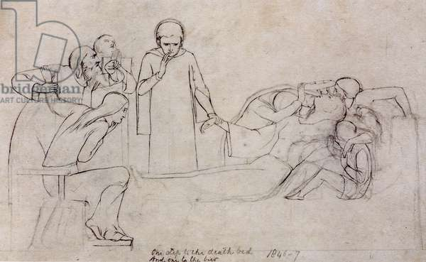 Studies for the figures of the Doctor, Mourners and Minerva, 1846 (pencil on paper)