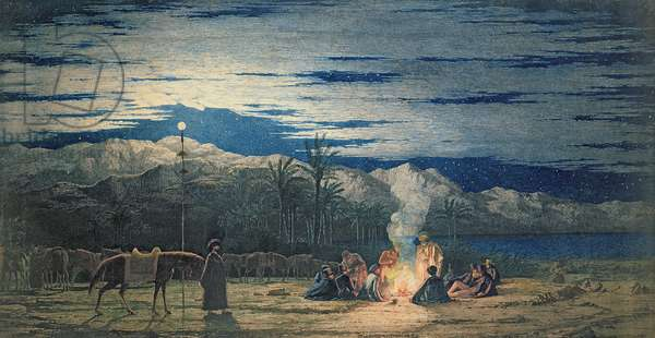 Artist's Halt in the Desert by Moonlight, c.1845 (w/c on paper) (see also 351542 and 351343)