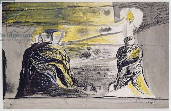 The Blazing Taper, 1942 (gouache, ink, chalk & crayon on paper)