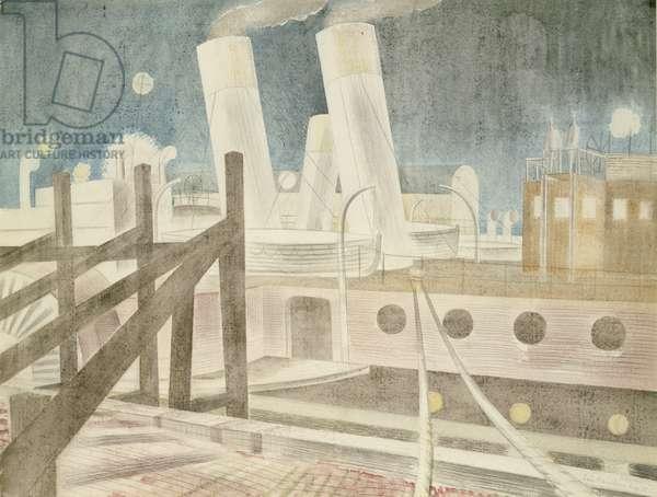 Brighton Queen at Night, 1935 (pencil & w/c on paper)