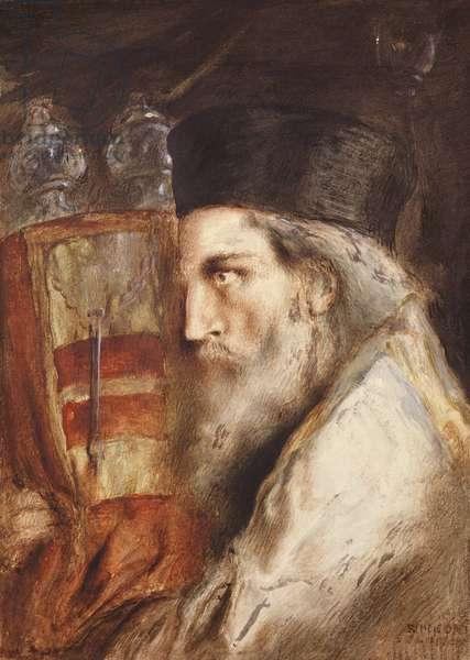 Rabbi Carrying the Torah (w/c on paper)