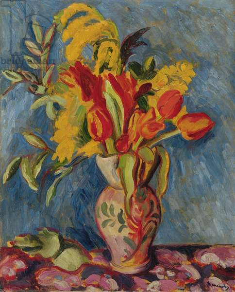 Still Life with Flowers in a Jug, c.1920 (oil on canvas)