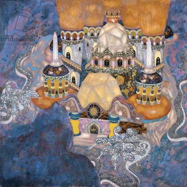 A serbian Fairy Tale: A Castle, 1916 (w/c on paper)