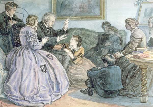 Christmas Story-Telling, A Winter's Tale, 1862 (w/c over pencil on paper)