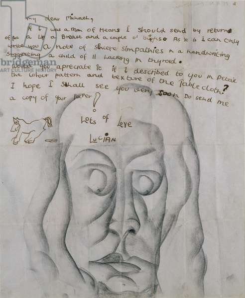 Study of a Head- Letter to Michael Nelson, 1941 (ink & black chalk on paper)
