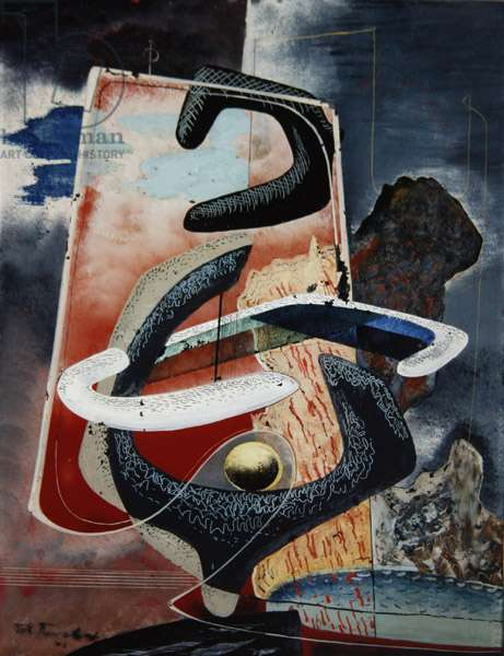Surrealist Composition, 1946 (oil reverse painting on glass)