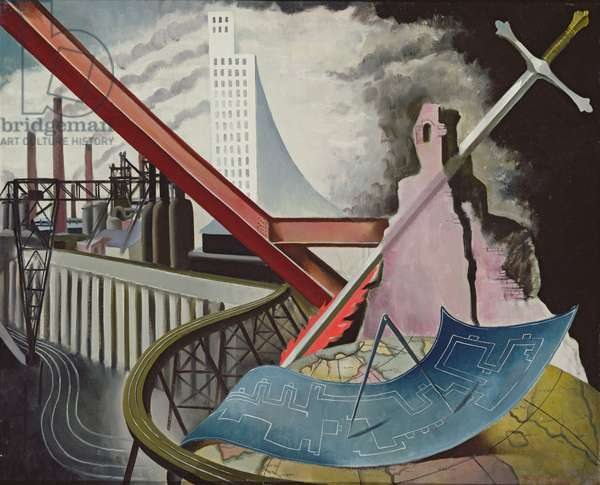 The Flaming Sword of Industry (Planning for Continuity of Work), 1944 (oil on canvas)