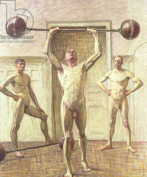 Pushing Weights with Two Arms, Number 3, 1914 (oil on canvas)