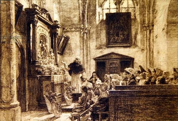 Le mois de Marie a Charteve: mai, 1885 (charcoal on paper)