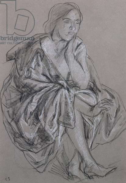 Study of a seated woman, Seated Woman Draped (chalk on paper)