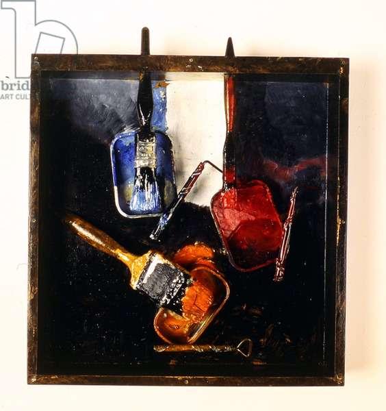 Black Paint Box, 1990 (wood, paint brushes, metal cans & paint)
