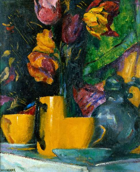 Still Life with Flowers and Pots, c.1920 (oil on panel)