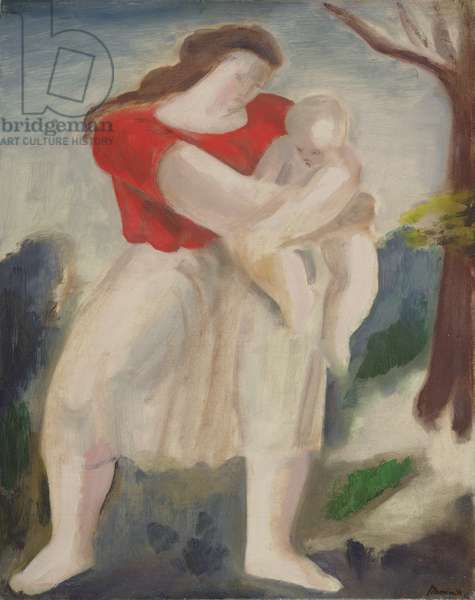 Mother and Child, c.1940 (oil on board)