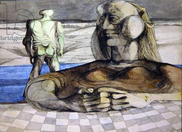 Sphinx, 1945 (pen, ink, crayon & w/c on paper)