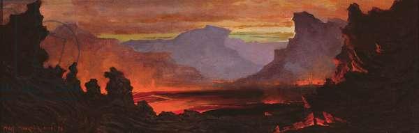 Hilo Volcano, Hawaii, 1886 (oil on canvas)