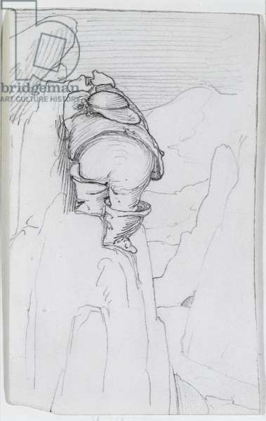 William Morris climbing a mountain in Iceland, c.1871 (pencil on paper)
