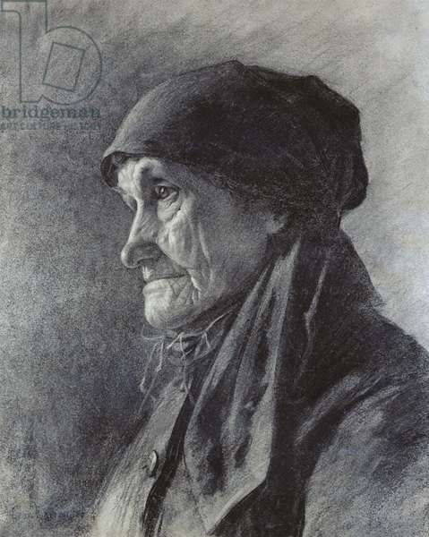 Tete de paysanne (charcoal on paper)