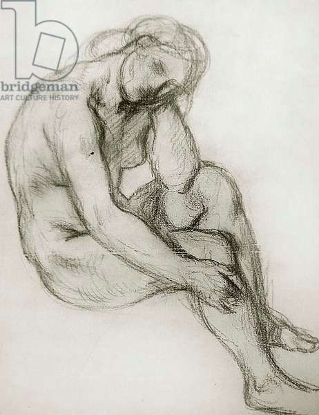 Study of a seated nude woman, 1904 (chalk on paper)