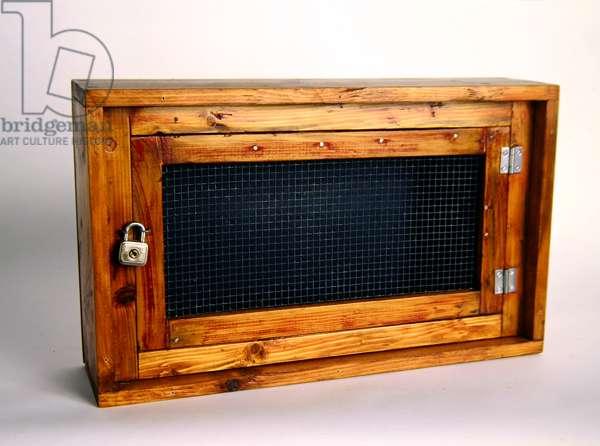 Caged Air, 1974 (wood, wire mesh, metal padlock and hinges)