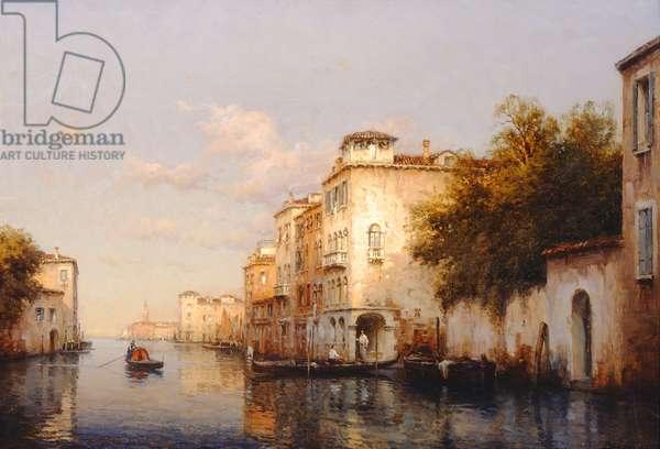 Venetian Canal scene (oil on canvas)