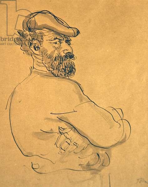 Self Portrait (pen, sepia ink & wash on paper)