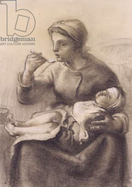The Baby's Cereal, c.1861 (black chalk on paper)