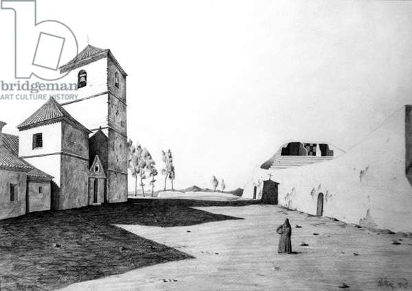 The Bull Ring at Mijas, Andalucia, 1949 (pencil on paper)