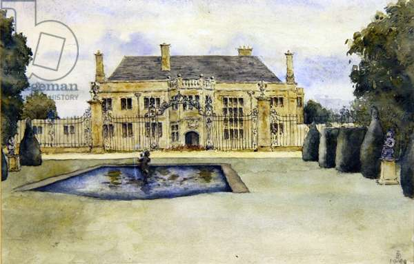 An English Country House, 1948 (w/c and pencil on paper)