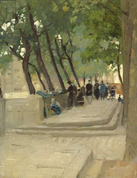 The Book Market Left Bank, Paris, c.1900 (oil on canvas)