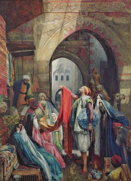 A Cairo Bazaar - The Della'l, 1875 (w/c heightened with bodycolour and gum arabic on paper)
