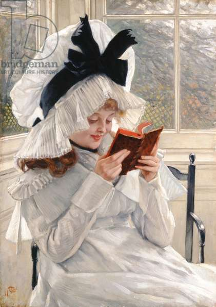 Reading a Book, 1872-73 (oil on panel)