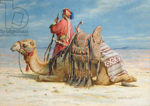 A Nomad and His Camel Resting in the Desert, 1874 (w/c on paper)