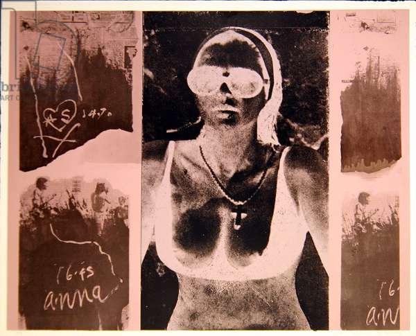 Anna Succione I - negative version, 1977 (colour linocut & photo-screenprint from linoleum on paper)