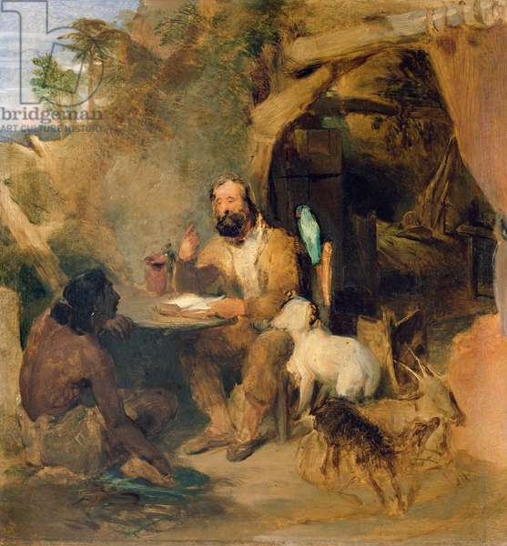 Robinson Crusoe, 1827 (oil on panel)