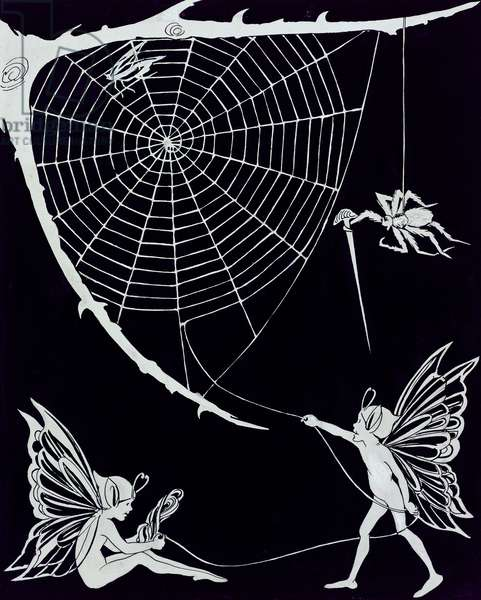 Fairy Thread from the Spider's Web (pen & ink on paper)