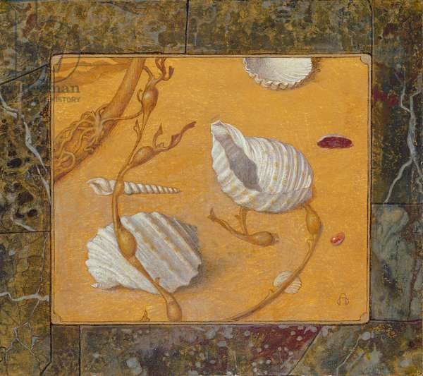 Still Life of Shells and Wrack, 1971 (tempera and gold paint on board)