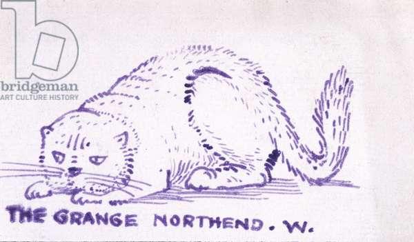 Predatory Cat (ink & stamp on paper)