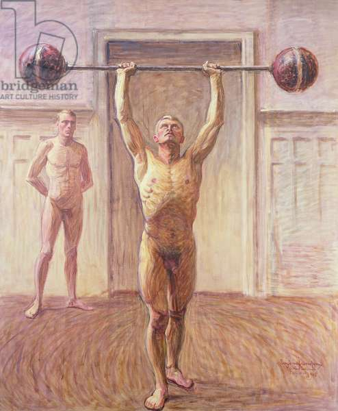 Pushing Weights with Two Arms Number 2, 1913 (oil on canvas)