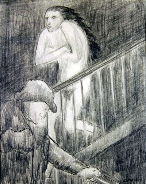 Morning Twilight- The Flowers of Evil, 1938 (pencil on paper)