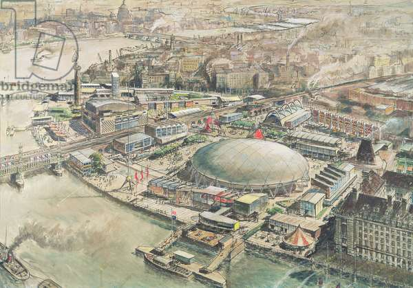 Proposal for the Festival of Britain site, the South Bank, 1951 (w/c over photograph on paper)