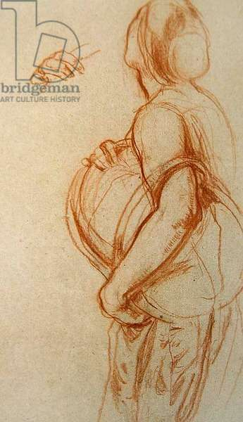 Study of a woman holding a basket for 'The Fruit Shop,' 1913 (chalk on paper)