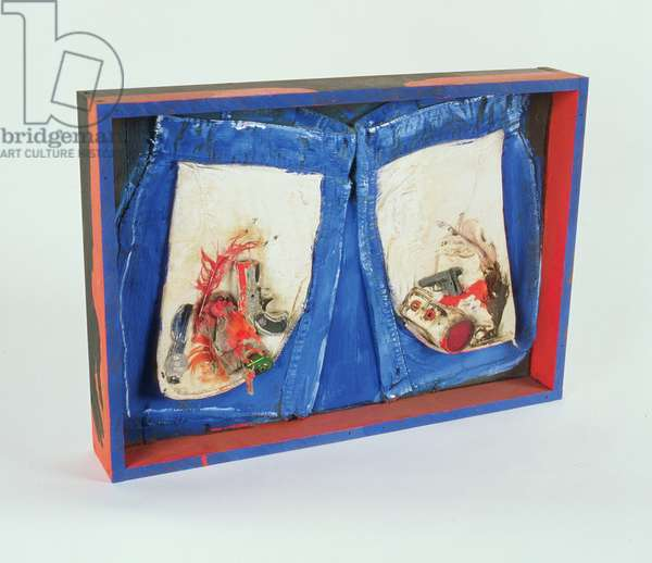 Boy's Pockets, c.1970 (wood, fabric, feathers, metal objects and paint)