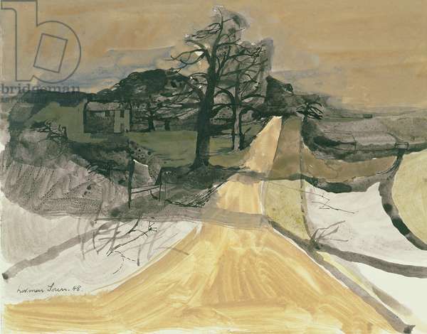 Evening landscape, Surrey, 1948 (gouache and ink on paper)