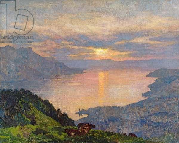 Sunset on Lake Geneva, 1907 (oil on canvas)